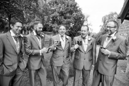 Pre wedding groom, best man and ushers