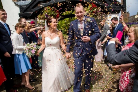 bride groom confetti Shrewsbury Photographer